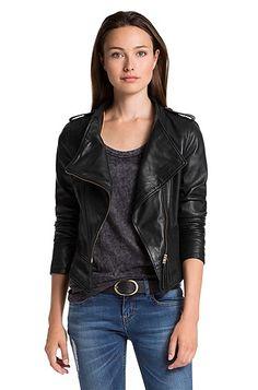 Boss Orange Janorah leather jacket - Black