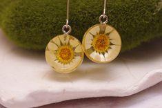 Wildflower Pressed Flower Earrings Stainless Steel Threader Earrings Real Flower Jewelry Plant Earrings Terrarium Earrings