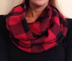 Red and Black Buffalo Check Infinity Scarf by KutKloth on Etsy, $15.00