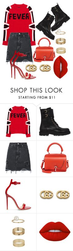 """Red"" by helennakj ❤ liked on Polyvore featuring Zadig & Voltaire, Salvatore Ferragamo, Levi's, Carven, Gianvito Rossi, Gucci, Miss Selfridge and Lime Crime"