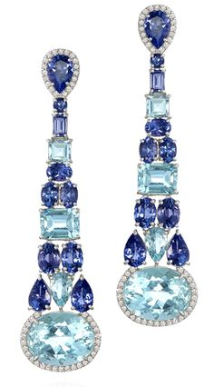 Black Hills Gold Jewelry Blues Earrings Music Collection Amsterdam Sauer Earrings in in white gold set with tanzanites, aquamarines and diamonds. Gems Jewelry, Bling Jewelry, Gemstone Jewelry, Vintage Jewelry, Jewelry Accessories, Jewelry Design, Silver Jewelry, Jewellery, Blue Earrings