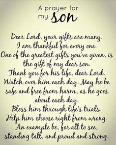Prayer for a son. Shared on PRAYER fb pg March 2018
