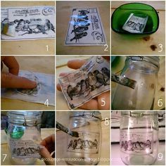 transfer a cristal Diy Crafts To Sell, Diy Crafts For Kids, Diy Cristals, Foto Transfer, Altered Bottles, Glass Containers, Decoration Table, Tricks, Diy Gifts