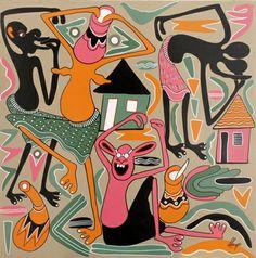 george lilanga- mazinga ombwe paintings enamel 1999