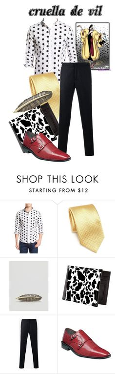 """Cruella De Vil Men"" by inspiredby-beatrixpotter ❤ liked on Polyvore featuring Oxford Lads, Saks Fifth Avenue Collection, ASOS, Incotex, Stacy Adams, men's fashion and menswear"