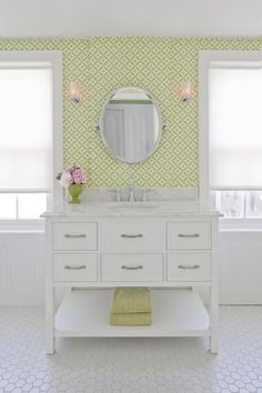 simple roller shades used in vintage girls' bathroom, interior design by Amy Cuker, down2earth interior design