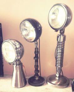 A trio of automobilio lamps.