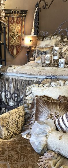 Champagne Old World Bedding Gold Bedroom, Luxury Bedding Collections, Dream Furniture, Old World Style, Tuscan Decorating, Fox Fur, My Dream Home, Damask, Color Schemes
