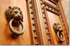 These lions look like they are scared, don't they? Lions are the most common theme we have seen on thedoor knockersof Italy. @ Rome.