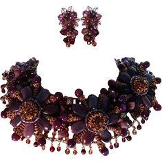 Signed FM Paris Couture Runway Violet Crystal/Glass Demi Parure