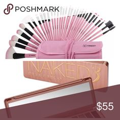 Naked 3 Eyeshadow Palette w 32 PC Pink Brush Set Urban Decay Naked 3 palette, with 32 PC Pink Brush set.   PRICE FIRM ~ ALREADY DISCOUNTED!! Urban Decay Makeup Eyeshadow