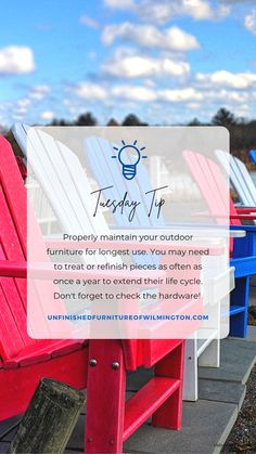 TUESDAY TIP: Outdoor Furniture By properly maintaining your outdoor furniture, you will extend its usable life. You may need to treat and/or refinish your furniture as often as every year. And you should always check the hardware to make sure it isn't rusted or loose. Like and follow for more tips! #TuesdayTip #Furniture #Wood #DIY #UnfinishedFurnitureofWilmington Unfinished Furniture, Life Cycles, Outdoor Furniture, Outdoor Decor, Tuesday, Hardware, Wood, Tips, Check