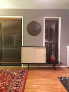 Three foot Paul Mccobb cabinet, white grass cloth doors, sitting on a five foot bench. Paul Mccobb, Mid Century Furniture, Grass, Bench, Bronze, Pottery, Decor Ideas, Doors, Cabinet