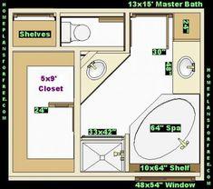 bathroom and closet floor plans |  plans/free 10x16 master