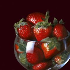 """Strawberries in Brandy Glass"" original fine art by Nance Danforth Hyper Realistic Paintings, Realistic Drawings, Brandy Glass, Glass Photography, Still Life Fruit, Apple Art, Fruit Painting, Still Life Photos, Strawberry Fields"