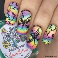 Rainbow And Butterflies by Yagala - Nail Art Gallery nailartgallery.nailsmag.com by Nails Magazine www.nailsmag.com #nailart