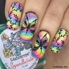Rainbow And Butterflies by Yagala - Nail Art Gallery nailartgallery.nailsmag.com by Nails Magazine www.nailsmag.com #nailart