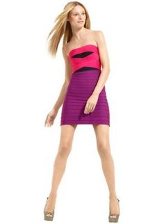 Bqueen Strapless Color Blocked Bandage Dress H293P,  Dress, Bqueen Strapless Bandage Dress