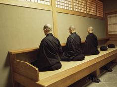 Monks During Za-Zen Meditation in the Zazen Hall, Elheiji Zen Monastery, Japan Photographic Print by Ursula Gahwiler at AllPosters.com