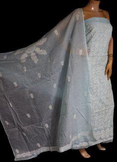 ISHIEQA's Light Blue Cotton Chikankari Dress Material - MV0801D Types Of Stitches, Kurti, Alexander Mcqueen Scarf, Light Blue, Designers, Pure Products, Silk, Studio, Yellow