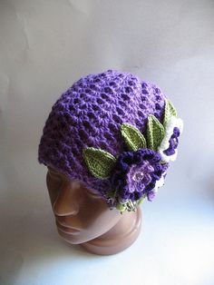 Beanie in Purple with Flowers OOAK Wool eco friendly Free Shipping via Etsy
