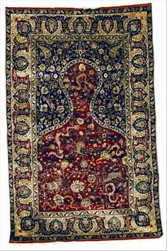 Turkish Rug, Kum kapi, Kumkapi, or Koum Kapi rug, 1910, silk, metal thread prayer rug