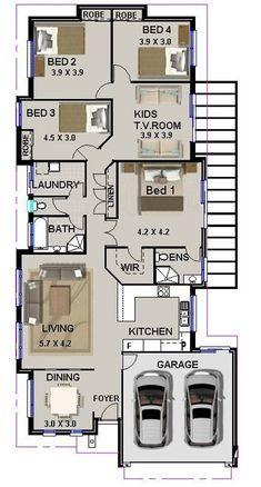 4 Bed House Plan: 203 Australian Houses Narrow Lot Home Plans Round House Plans, Narrow Lot House Plans, Simple House Plans, My House Plans, House Layout Plans, Simple House Design, House Layouts, House Floor Plans, Bungalow Floor Plans
