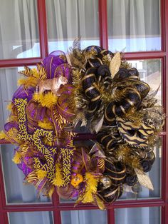 LSU and New Orleans Saints House Divided Deco Mesh Door Wreath, $99.00 #Crazyboutdeco
