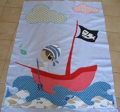 Projet en cours, une couverture pirate il reste le pirate à faire avec d'autres tissus!