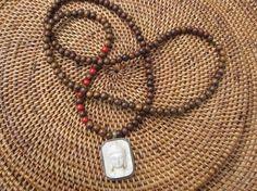 Buddha Pendant and Sandalwood Necklace OOAK Ethnic by Stone and Stem.  #unisex #bohochic #ethnicjewelry #etsy