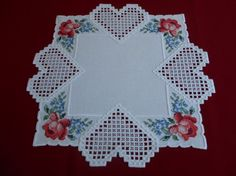 Hardanger doily with cross stitch roses by Connie Kusevskis  Beautiful combination of Hardanger and cross stitch