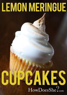 Mini Lemon Meringue Cupcakes Recipe! Love me some bite size cupcakes, especially lemon ones!