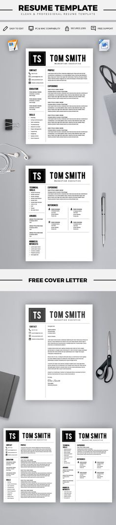 Word Resume Template - Resume Template for Word + Cover Letter - word resume template mac