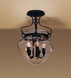 """Hubbardton Forge #126754 Semi-flush Acharn with Water Glass. 15.8""""H by 10.75""""W.  Put this in Mudroom and other single-story entry ways"""