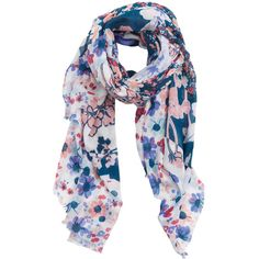 Flower Print Scarf ($18) ❤ liked on Polyvore featuring accessories, scarves, floral print scarves, floral scarves and floral shawl
