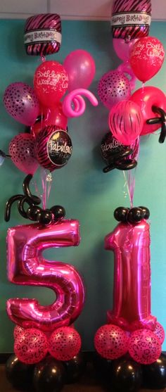 Hot Pink and Black Birthday Arrangement for Delivery!