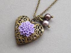 Heart locket necklace antiqued brass filigree purple by sevenstarz, $20.00
