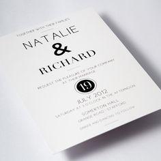 Modern Black & White Wedding Invitations by IrisArtDesigns, £50.00
