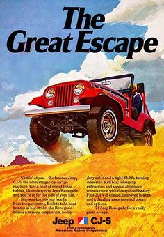 1974 Jeep - The Great Escape - Promotional Advertising Magnet Jeep Ika, Turning Machine, F150 Truck, Tire Pressure Gauge, Army Vehicles, The Great Escape, Flat Tire, Jeep Renegade, Pony Car