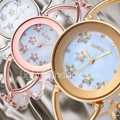 59e1480afefc Mujer Relojes de Lujo Reloj de Pulsera Relojes de Oro Japonés Cuarzo Plata    Dorado   Oro Rosa Reloj Casual Analógico damas Flor Brazalete Moda  Elegante ...