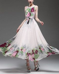 Spring summer chiffon long dress lady women clothing by handok, $87.00