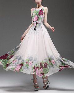 Spring summer chiffon long dress lady women clothing by handok, $87.00 jaglady