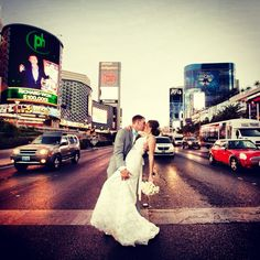 Street kiss photos. A favorite! Would have to do this in front of Bellagio/Planet Hollywood.