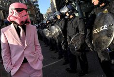 I assume this is at some kind of protest. Any way, Darth Vader looks cool in his pink helmet and matching pink suit. Dark Vader, Robin, Pink Helmet, Pink Suit, Demotivational Posters, My Tumblr, Looks Cool, Make Me Smile, Funny