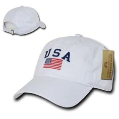 64f12fd6d6b White USA Flag Patch US American Patriotic Polo Style Baseball Cap Caps Hat  Hats