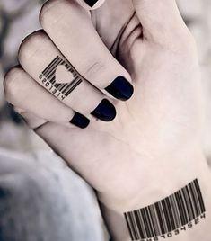 barcode finger tattoos