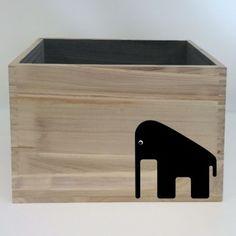 Olifant Sticker voor op een opbergbox DIY