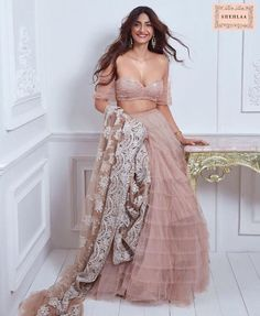 Unique Bridal Lehenga designs that is every Bride's pick in Indian Celebrities, Bollywood Celebrities, Bollywood Fashion, Bollywood Saree, Indian Fashion Dresses, Indian Designer Outfits, Indian Wedding Outfits, Indian Outfits, Indian Attire