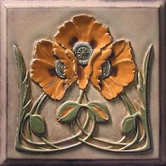 Sources for Arts & Crafts Tile - High-relief glazed ceramic tiles by Lewellen Studio. Fleurs Art Nouveau, Motifs Art Nouveau, Azulejos Art Nouveau, Art Nouveau Tiles, Art Nouveau Design, Arts And Crafts For Teens, Art And Craft Videos, Arts And Crafts House, Home Crafts