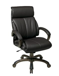 Eco Leather Executive Chair with Coated Base Brown Padded Nylon Loop Arms. One Touch Pneumatic Seat Height Adjustment. Locking Tilt Control with Adjustable Tilt Tension. Thick Padded Contour Seat and Back with Built-in Lumbar Support. Thickness 5.25.  #Office_Star #Home
